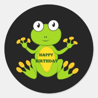 Sapo verde de feliz aniversario adesivos redondos