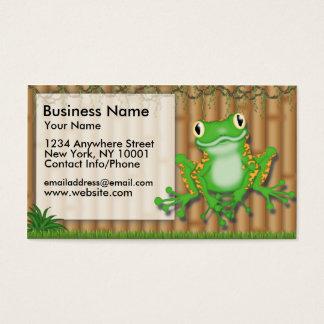Sapo verde do divertimento da selva do cartão de