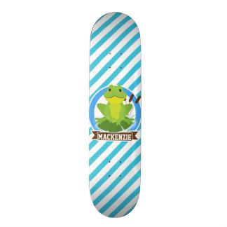 Sapo verde em Lilypad; Listras azuis & brancas