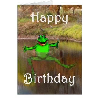 Sapo verde que acena e que nada, feliz aniversario cartão comemorativo