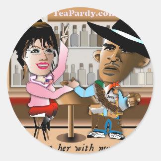 Sarah Palin e Obama Mano um Mano Adesivo Em Formato Redondo