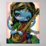 Saraswati que joga o IMPRESSÃO Hindu da arte da de
