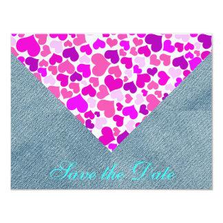 Sarja de Nimes roxa de jeans da noiva dos corações Convite 10.79 X 13.97cm