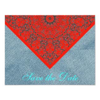 Sarja de Nimes rústica vermelha de jeans do laço Convite 10.79 X 13.97cm