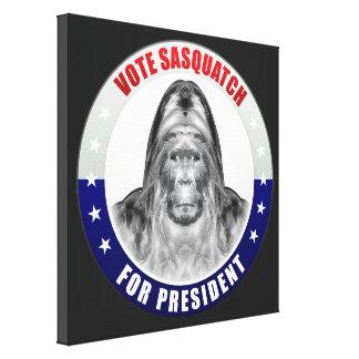 Sasquatch para o presidente impressão de canvas envolvidas