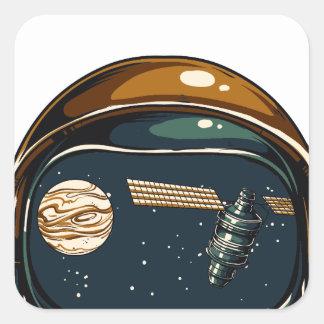 satélite da NASA e a lua Adesivo Quadrado