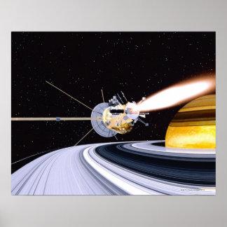 Saturn de órbita satélite poster