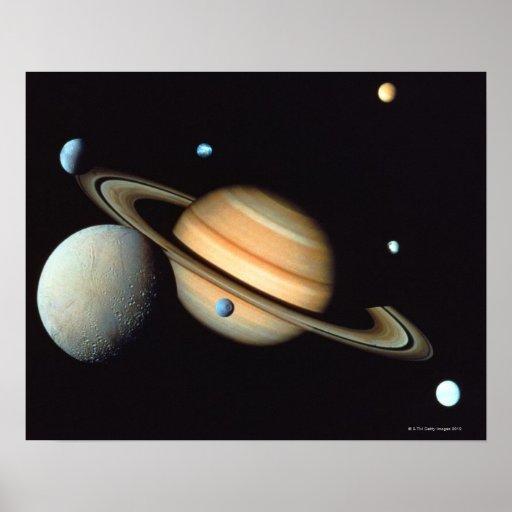 Saturn e satélites pôsteres