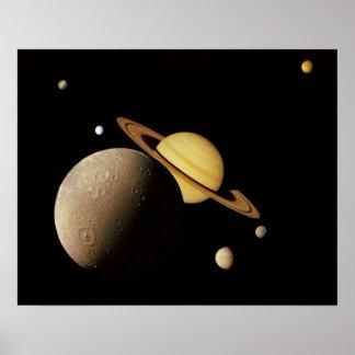 Saturn e seu poster das luas