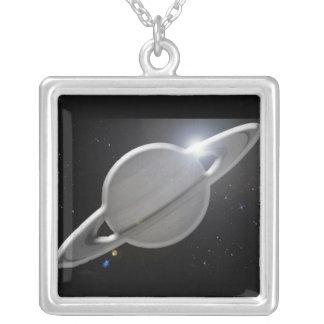 Saturno de prata colar banhado a prata