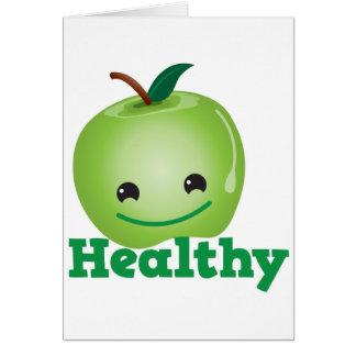 Saudável com a maçã verde do kawaii com uma cara b cartao