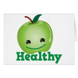 Saudável com a maçã verde do kawaii com uma cara b cartões
