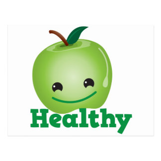 Saudável com a maçã verde do kawaii com uma cara b cartão postal