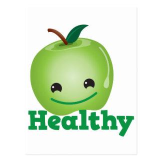 Saudável com a maçã verde do kawaii com uma cara cartão postal