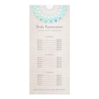 Saúde de Lotus azul e menu da tabela de preços do 10.16 X 22.86cm Panfleto