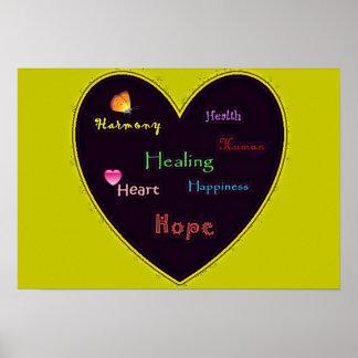 Saúde e esperança da harmonia da felicidade inspir posteres