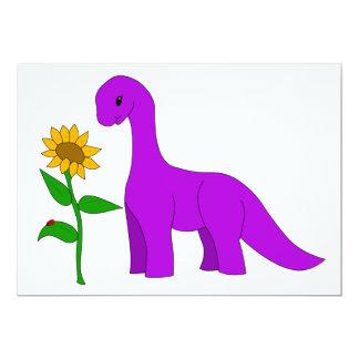 Sauropod e girassol convite 12.7 x 17.78cm