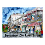 savannah_river_street_painting, savana GA Riv… Cartões Postais