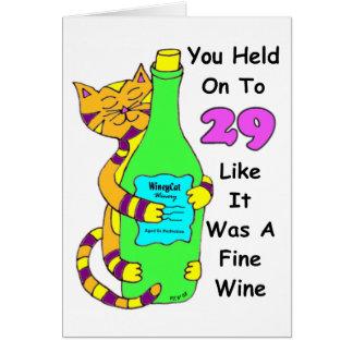 Savor o cartão de aniversário Winey do gato 30