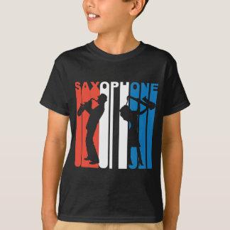 Saxofone branco e azul vermelho camiseta