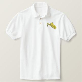 Saxofone Camiseta Bordada Polo