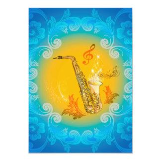 Saxofone com clef brandamente no amarelo, azul convite 12.7 x 17.78cm