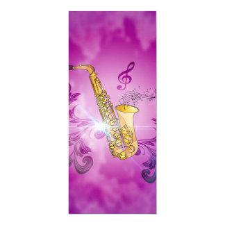 Saxofone com notas chaves e clef convite 10.16 x 23.49cm