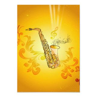 Saxofone com notas chaves e clef convite 12.7 x 17.78cm