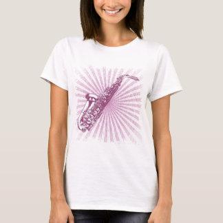 Saxofone cor-de-rosa feminino do Grunge Camiseta