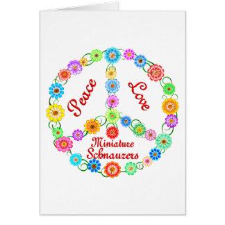 Schnauzers diminutos do amor da paz cartão