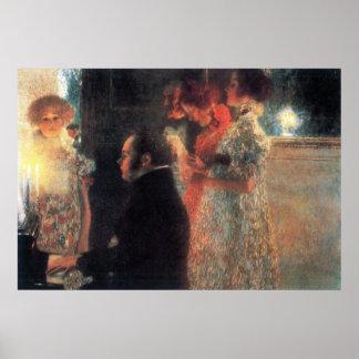 Schubert no piano por Gustavo Klimt Pôster