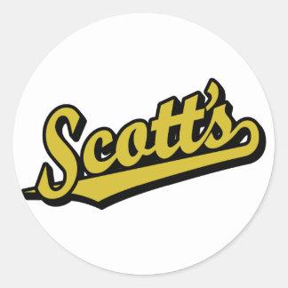 Scott no ouro adesivos redondos