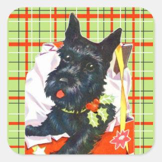 Adesivo Quadrado Scottie de Terrier do Scottish com etiquetas