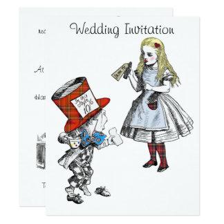 Scottish Alice no convite do casamento do país das