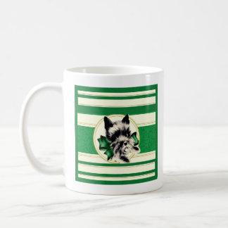 Caneca De Café Scottish preto Terrier do vintage na caneca verde