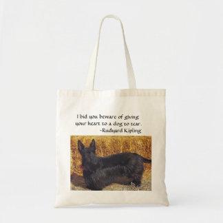 Scottish Terrier com dizer de Rudyard Kipling Sacola Tote Budget