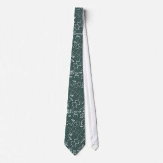 Scribbles químicos do equipamento de laboratório gravata