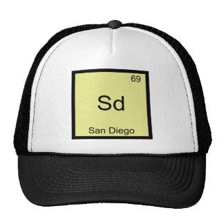 Sd - T engraçado do símbolo da química do elemento Bonés
