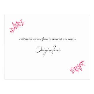 Se a amizade for uma flor o amor é uma rosa cartão postal