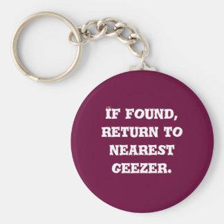 Se encontrado, retorne ao geezer. o mais próximo chaveiro