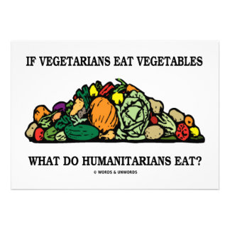 Se os vegetarianos comem os humanitários dos veget convite personalizado