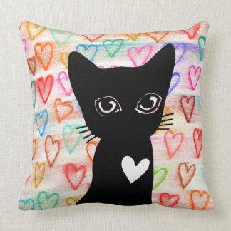 Se você ama os gatos pretos - corações para você almofada
