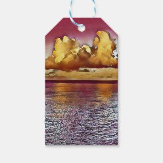 Seascape artístico bonito do ouro do rosa da etiqueta para presente