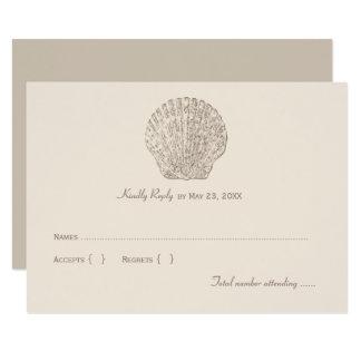 Seashell do marfim do cartão de resposta 1% do convite 8.89 x 12.7cm