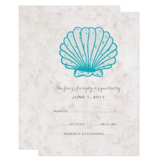 Seashell rústico de turquesa que Wedding o cartão
