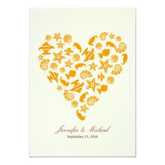 Seashells & casamento de praia do verão do coração convite 12.7 x 17.78cm