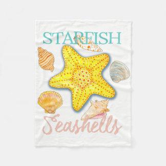 Seashells e estrela do mar gráficos com palavras cobertor de velo