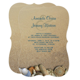 Seashells no convite feito sob encomenda do