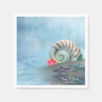 Seashells personalizados que Wedding guardanapo