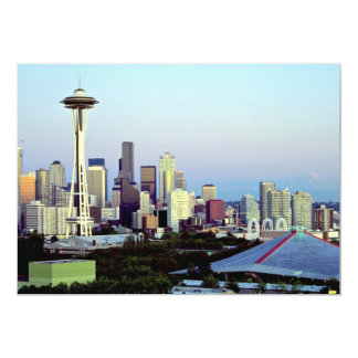 Seattle com o Monte Rainier, estado de Washington, Convite 12.7 X 17.78cm